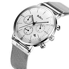 preiswerte Herrenuhren-Herrn Armbanduhren für den Alltag / Modeuhr Kalender / Stopuhr / Cool Edelstahl Band Luxus / Freizeit Schwarz / Silber