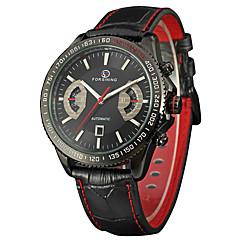 voordelige Mechanische horloges-FORSINING Heren Modieus horloge Polshorloge Automatisch opwindmechanisme Kalender Leer Band Informeel Cool Zwart