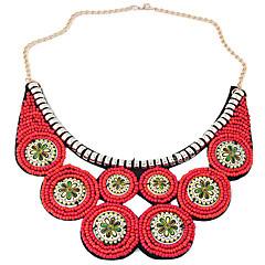お買い得  ネックレス-女性用 円形 ボヘミアンスタイル エスニック ファッション カラー 樹脂 合金 カラー 、 パーティー 日常