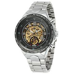 お買い得  メンズ腕時計-WINNER 男性用 自動巻き リストウォッチ 透かし加工 ステンレス バンド ヴィンテージ / カジュアル / ファッション シルバー