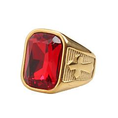 رخيصةأون -للرجال خواتم حزام مكعب زركونيا قديم Rock الهيب هوب بيان المجوهرات الصلب التيتانيوم مجوهرات من أجل يوميا فضفاض