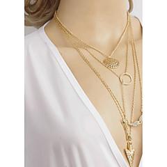 お買い得  ネックレス-女性用 レイヤードネックレス  -  ラインストーン シンプル ゴールド ネックレス 用途 日常, お出かけ