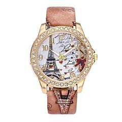 お買い得  フラワーパターン 腕時計-女性用 ダミー ダイアモンド 腕時計 リストウォッチ ドレスウォッチ 中国 クォーツ 模造ダイヤモンド PU バンド ぜいたく 花型 ヴィンテージ カジュアル ボヘミアンスタイル ブラック 白 ブルー レッド ブラウン グレー 赤紫