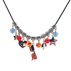 preiswerte Halsketten-Damen Anhängerketten - Leder Herz, Stern Klassisch Silber Modische Halsketten Schmuck Für Alltag
