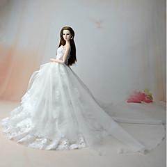 Vestido com Corpete Vestido Para Boneca Barbie Branco Vestidos Para Menina de Boneca de Brinquedo