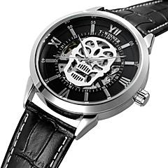 お買い得  メンズ腕時計-WINNER 男性用 リストウォッチ 自動巻き 本革 ベルト素材 ブラック 30 m 耐水 透かし加工 クール ハンズ ヴィンテージ カジュアル ファッション - シルバー /  ブラック ホワイト / シルバー / ステンレス