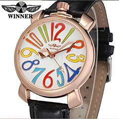 お買い得  大特価腕時計-WINNER 男性用 / 女性用 ドレスウォッチ / リストウォッチ / 機械式時計 レザー バンド カジュアル / 多色 ブラック / ステンレス / 自動巻き