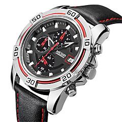 お買い得  メンズ腕時計-MEGIR 男性用 リストウォッチ クォーツ カレンダー クール 本革 バンド ハンズ カジュアル ファッション ブラック シルバー Brown / ステンレス
