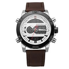お買い得  メンズ腕時計-NAVIFORCE 男性用 スポーツウォッチ カレンダー / クロノグラフ付き / 耐水 レザー バンド ぜいたく / カジュアル / ファッション ブラック / ブラウン / LCD / 2タイムゾーン / 夜光計 / 2年 / Maxell626 + 2025