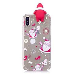Недорогие Кейсы для iPhone 7 Plus-Кейс для Назначение Apple iPhone X iPhone 8 Plus Защита от удара Задняя крышка 3D в мультяшном стиле Рождество Мягкий TPU для iPhone X