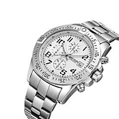 preiswerte Tolle Angebote auf Uhren-MEGIR Herrn Armbanduhr Quartz Kalender Cool Edelstahl Band Analog Freizeit Modisch Schwarz Schwarz / Silber Weiß / Silber