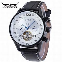 preiswerte Tolle Angebote auf Uhren-Herrn Armbanduhr Automatikaufzug Kalender Cool Leder Band Analog Freizeit Modisch Schwarz - Weiß Schwarz / Edelstahl