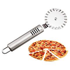 halpa -ruostumaton teräs pizza veitsi leikkurit pyörät handheld kakku rulla veitsi keittiö gadgets 19,5 * 6cm