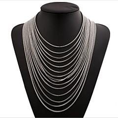 お買い得  ネックレス-女性用 多層式 チェーンネックレス  -  多層式 円形 ゴールド シルバー 青銅色 ネックレス 用途 贈り物 日常 フォーマル
