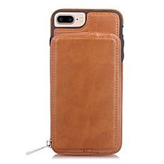 Недорогие Кейсы для iPhone 7 Plus-Кейс для Назначение Apple iPhone X iPhone 8 Бумажник для карт Кошелек Зеркальная поверхность Кейс на заднюю панель Сплошной цвет Твердый
