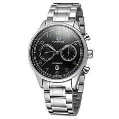 preiswerte Tolle Angebote auf Uhren-Herrn Armbanduhr Kalender Edelstahl Band Retro / Freizeit / Modisch Silber / Automatikaufzug