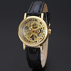 preiswerte Tolle Angebote auf Uhren-WINNER Damen Mechanischer Handaufzug Armbanduhr Transparentes Ziffernblatt Leder Band Luxus / Retro / Freizeit / Elegant / Modisch Schwarz