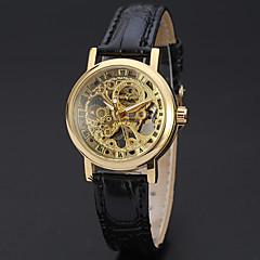 cheap Watch Deals-WINNER Women's Mechanical manual-winding Wrist Watch Hollow Engraving Leather Band Luxury Vintage Casual Dress Watch Elegant Fashion Black