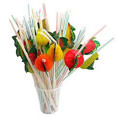 100 adet bir defalık plastik saman kağıt sanat meyve saman parti kaynağı