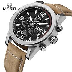 お買い得  メンズ腕時計-MEGIR 男性用 リストウォッチ クォーツ カレンダー クール レザー バンド ハンズ カジュアル ファッション ホワイト ブラック Black / Brown