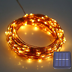 1set hkv® 12m 100led dc 5v solceller ledning trådlampe udendørs udendørs vandtæt fe lampe til bryllup juledekoration
