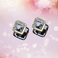 preiswerte Ohrringe-Damen Kristall Geometrisch Ohrstecker Kreolen - Krystall Klassisch, Retro, Koreanisch Grün / Blau / Champagner Für Party Geschenk