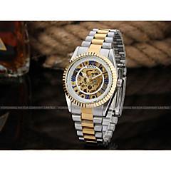 お買い得  メンズ腕時計-WINNER 男性用 リストウォッチ 機械式時計 自動巻き シルバー / ゴールド 30 m 透かし加工 クール ハンズ ぜいたく ヴィンテージ カジュアル - ゴールド シルバー ゴールド / シルバー