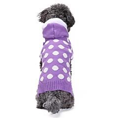 tanie Odzież dla kota-Kot Pies Płaszcze Swetry Bluzy z kapturem Ubrania dla psów Codzienne Zatrzymujący ciepło Sylwester Kropki Purple Kostium Dla zwierząt