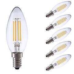 preiswerte LED-Birnen-GMY® 6pcs 3.5W 350 lm E14 LED Glühlampen C35 4 Leds COB Abblendbar Dekorativ LED-Lampe Warmes Weiß Wechselstrom 220-240V