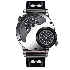 preiswerte Tolle Angebote auf Uhren-YNFRU Herrn Armbanduhr Chinesisch Armbanduhren für den Alltag / Cool / Großes Ziffernblatt Leder Band Freizeit / Modisch / Einzigartige kreative Uhr Schwarz / Braun / Edelstahl