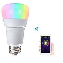 1pc 8W E27 Ampoules LED Intelligentes 22 LED SMD 2835 Bluetooth Intensité Réglable Commandée à Distance Wi-Fi Elégant RGB + Blanc 500lm