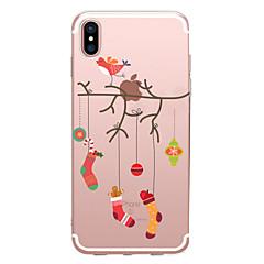 Недорогие Кейсы для iPhone 6-Кейс для Назначение Apple iPhone X iPhone 8 Прозрачный С узором Кейс на заднюю панель Рождество Мягкий ТПУ для iPhone X iPhone 8 Pluss