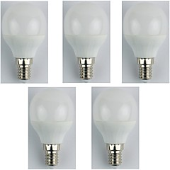 5pcs 4W E14 LED Globe Bulbs G45 6 leds SMD 3528 Warm White 310lm 3000K AC 180-240V