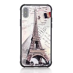 Недорогие Кейсы для iPhone 7 Plus-Кейс для Назначение Apple iPhone X / iPhone 8 Защита от удара / С узором Кейс на заднюю панель Слова / выражения / Флаг / Эйфелева башня Твердый Закаленное стекло для iPhone X / iPhone 8 Pluss