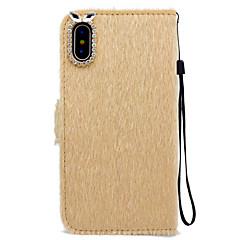 Недорогие Кейсы для iPhone 7-Кейс для Назначение Apple iPhone X iPhone 8 Бумажник для карт Кошелек Стразы со стендом Чехол Сплошной цвет Твердый текстильный для