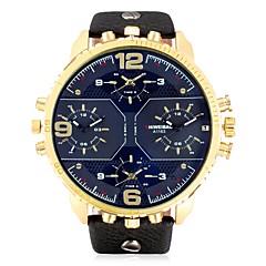 お買い得  メンズ腕時計-SHI WEI BAO 男性用 ファッションウォッチ / リストウォッチ 中国 カレンダー / 3タイムゾーン レザー バンド カジュアル ブラック
