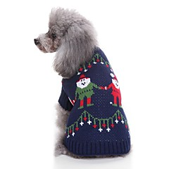tanie Ubranka i akcesoria dla psów-Kot Pies Swetry Ubrania dla psów Codzienne Święta Bożego Narodzenia Święta Dark Blue Kostium Dla zwierząt domowych