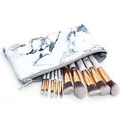 hesapli -10 parça Allık Fırçası Far Fırçası Dudak Fırçası Pudra Fırçası Fondöten Fırçası Fırça Setleri Sentetik Saç Tam Kaplama Mermer / Granit Yüz
