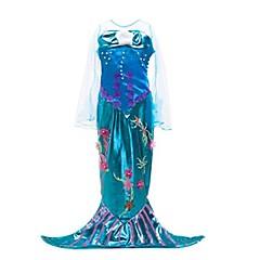hesapli -The Little Mermaid Tek-parça Elbiseler Çocuk Cadılar Bayramı Festival / Tatil Cadılar Bayramı Kostümleri Mor Deniz Kızı