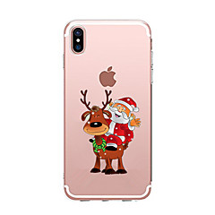 billige Etuier til iPhone 7 Plus-Til iPhone X iPhone 8 iPhone 7 iPhone 6 iPhone 5 etui Etuier Transparent Mønster Bagcover Etui Jul Blødt TPU for Apple iPhone X iPhone 8