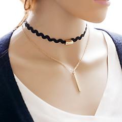 お買い得  ネックレス-女性用 幾何学形 ウェーブ ヴィンテージ 甘い ファッション チョーカー カラー , ファブリック 合金 チョーカー カラー 、 パーティー