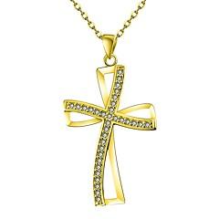 お買い得  ネックレス-女性用 キュービックジルコニア ペンダントネックレス  -  ローズゴールド 十字架 クラシック ゴールド, ローズゴールド ネックレス ジュエリー 1 用途 贈り物, 日常