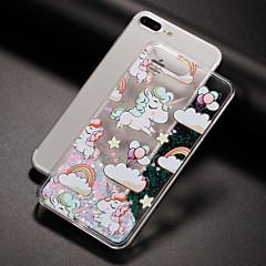 Недорогие Кейсы для iPhone-Кейс для Назначение Apple iPhone 7 iPhone 7 Plus iPhone 6 Движущаяся жидкость С узором Задняя крышка единорогом Твердый PC для iPhone 7