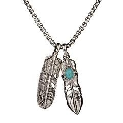 preiswerte Halsketten-Herrn Damen Türkis Anhängerketten - Türkis Blattform Einfach, Hip-Hop Silber Modische Halsketten Schmuck 1 Für Alltag