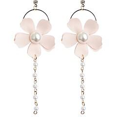 tanie Kolczyki-Damskie Kolczyki wiszące Kwiatowy Słodkie Modny Imitacja pereł Materiał Stop Kwiat Biżuteria Codzienny
