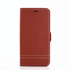 baratos Capinhas para iPhone6-Capinha Para Apple iPhone X iPhone 8 Porta-Cartão Carteira Com Suporte Flip Capa Proteção Completa Côr Sólida Rígida PU Leather para