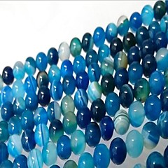 お買い得  ビーズ&ジュエリー製作-DIYジュエリー 46 個 ビーズ メノウ ブルー 円形 ビーズ 0.8 cm DIY ネックレス ブレスレット