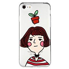 Недорогие Кейсы для iPhone 7-Кейс для Назначение Apple iPhone 6 iPhone 7 Полупрозрачный С узором Рельефный Кейс на заднюю панель Соблазнительная девушка Мультипликация