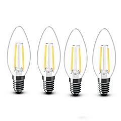 お買い得  LED 電球-4本 2W 200 lm E14 LEDキャンドルライト C35 2 LEDの COB 装飾用 温白色 AC 220-240V