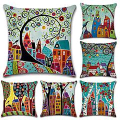tanie Poduszki-6 szt Cotton / Linen Pokrywa Pillow, Liście drzew / Styl artystyczny Retro